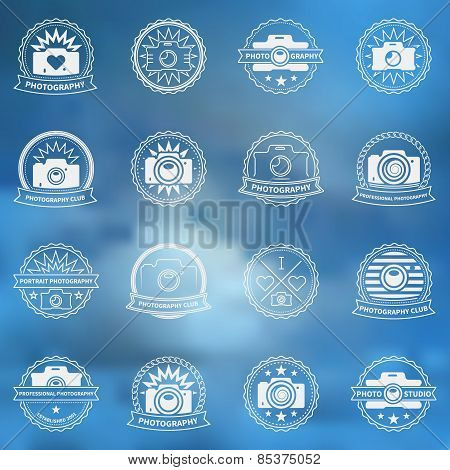 Camera vector icons or labels set