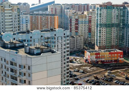 MOSCOW, RUSSIA - March 10 2015, Area of new buildings on  outskirts of Moscow
