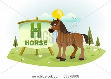 Funny Cartoon Alphabet H With Horse