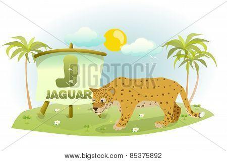 Funny Cartoon Alphabet J With wild cat