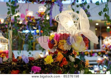 Home Decoration With Flower, Butterfly & Lights