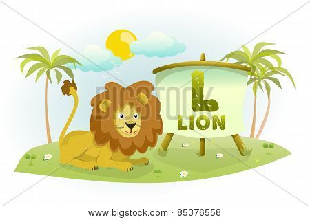 Funny Cartoon Alphabet L With Lion