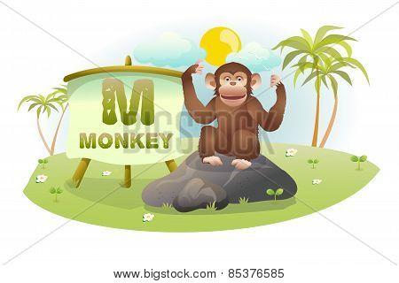 Funny Cartoon Alphabet M With Monkey