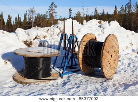 Cable Drums In The Snow