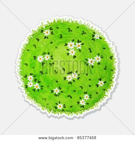 Round watercolor meadow like planet with green grass