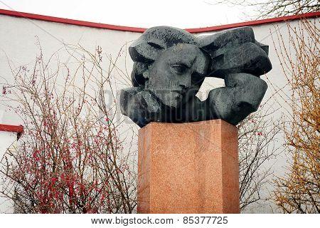 Salomeja Neris Monument In Vilnius City At Winter Time