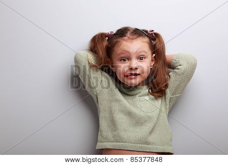Humor Kid Girl In Fashion Blouse Posing With Funny Face