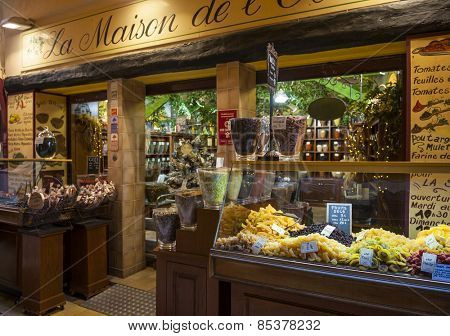 NICE, FRANCE - OCTOBER 2, 2014: Gourmet food shop