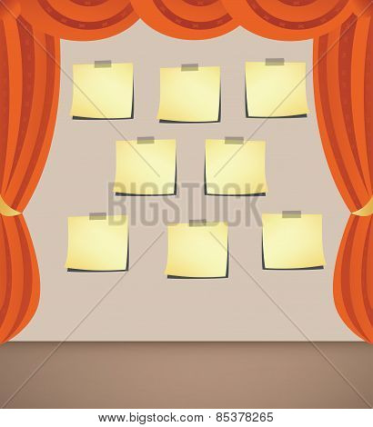 Curtain With Note- Papers