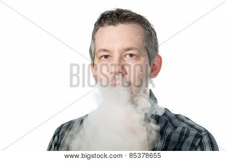 Man Exhaling Smoke