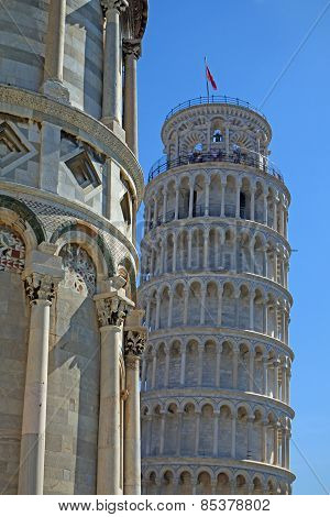 Close Up Of The Leaning Tower In Pisa (italy)
