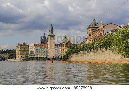 view of the river Vltava and the Old Town Hall