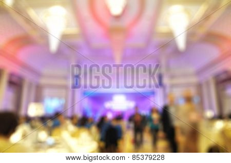 Blur Of Defocus Image Of Celebration Party In Luxury Restaurant