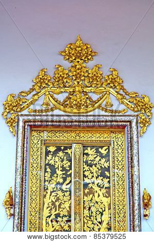 Door  In  Gold    Temple    Bangkok   Of The Temple