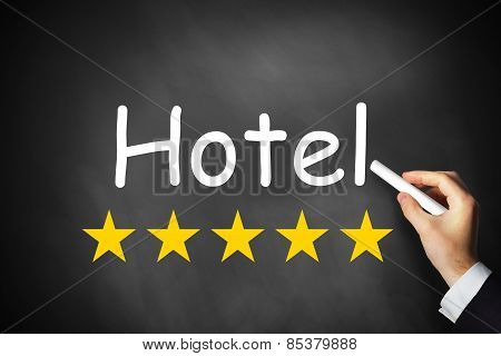 Hand Writing Hotel On Black Chalkboard Five Stars