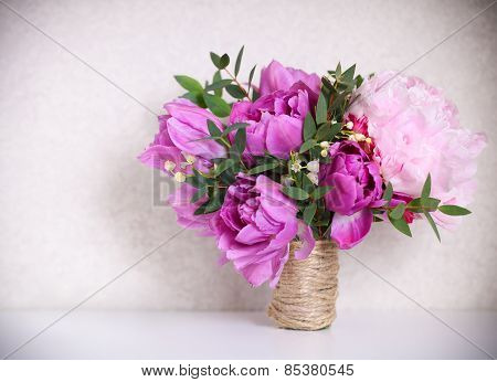 Wedding Bouquet Of A Pink Peonies