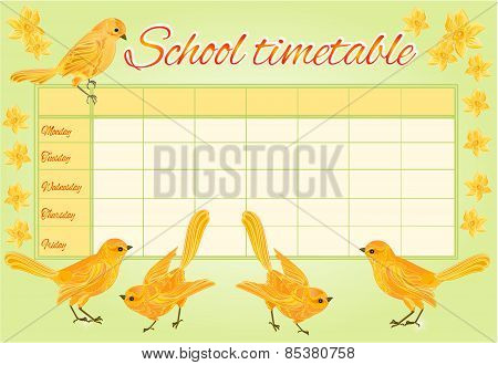School Timetable With Yellow Birds Vector