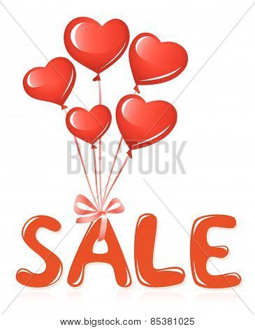 Sale message with balloons.