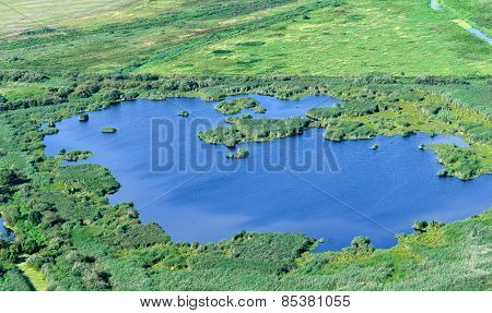 Aerial View On The Flood Land The Great River During Summer