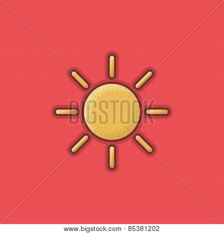 Lienar Flat Stroke Sun Icon