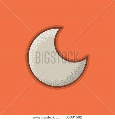 Lienar Flat Stroke Moon Icon