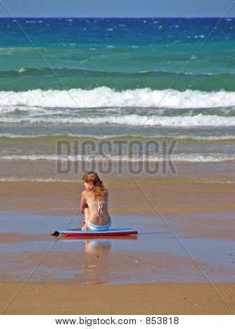 Beautiful Girl Waiting for Surf