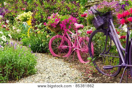 Painted Bicycles As Garden Art Planters
