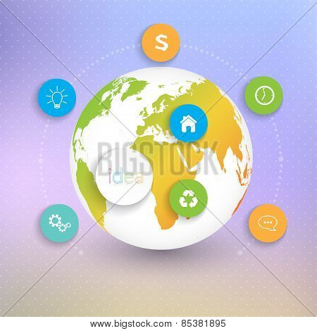 Modern Abstract 3D globes template infographic with place for your text. Can be used for workflow