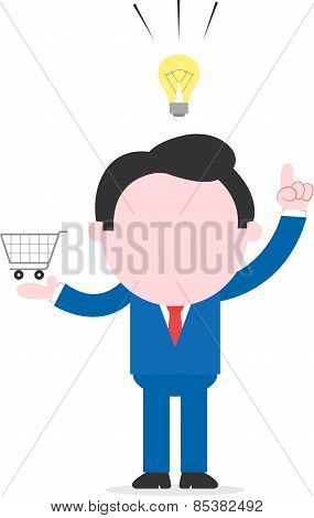 Businessman With An Idea And Holding Shopping Cart