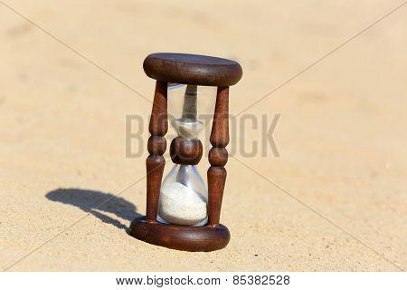 Hourglass on sand in desert