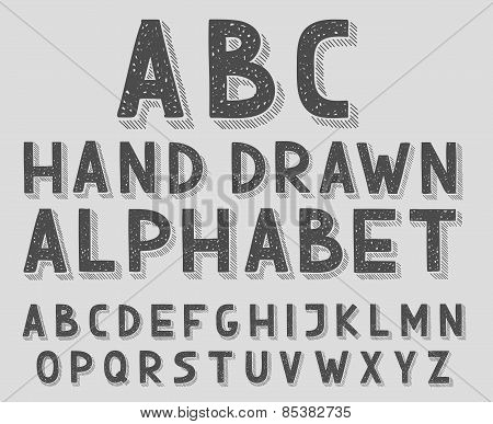 Hand drawn doodle sketch abc alphabet letters, vector illustration.