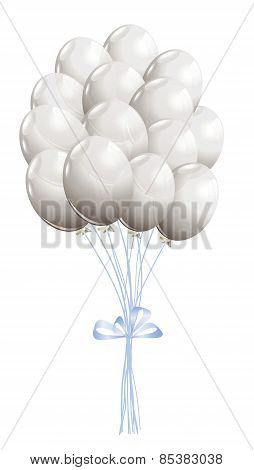 White Air Balloons Isolated On White