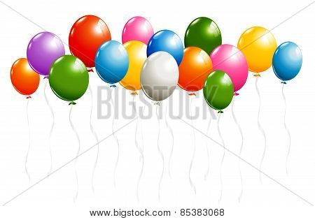 Shiny Balloons Border Isolated On White