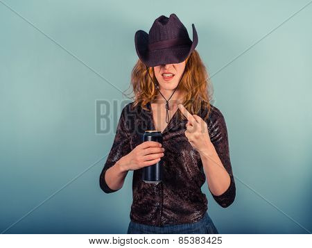Young Woman Drinking And Being Rude