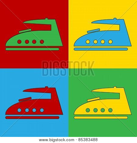Pop Art Steam Iron Symbol Icons.