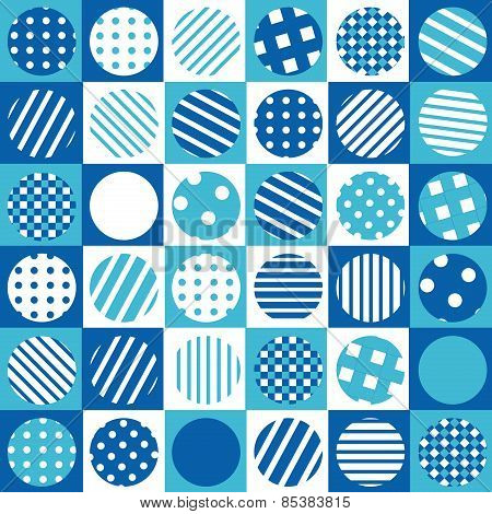 Blue Geometrical Background With Squares And Patterned Circles
