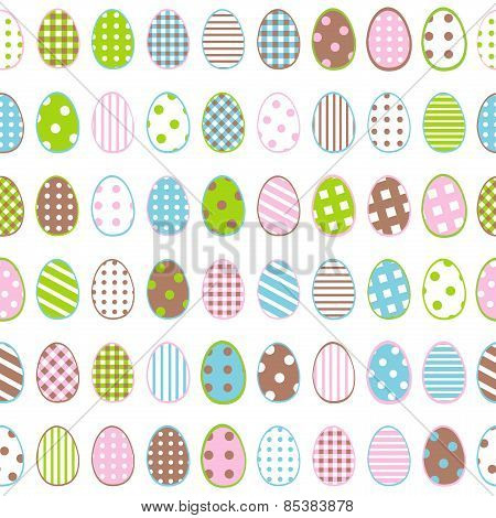Easter Wrapping Paper With Patterned Eggs On White Background
