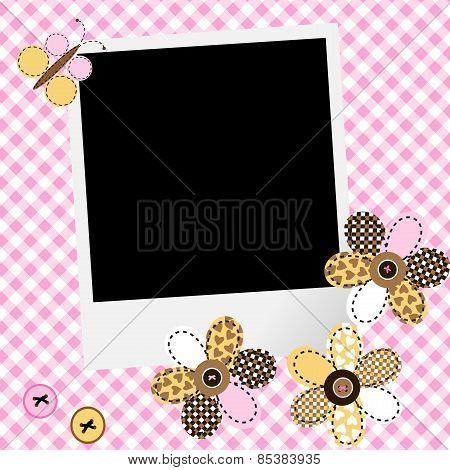 Scarpbook Baby Girl Design With Photo Frame And Patchwork Flowers