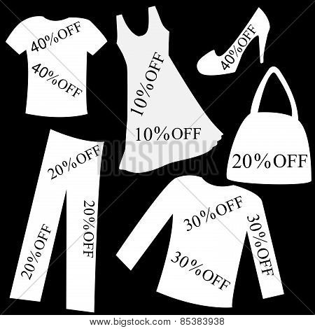 Set Of White Clothing With Sale Percent Discount Over Black Background