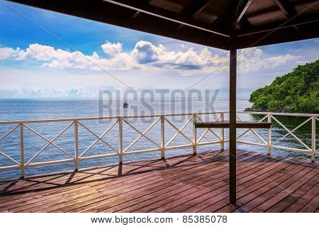 Balcony porch sea view in Trinidad and Tobago island