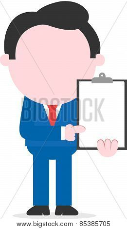 Businessman Pointing Clipboard