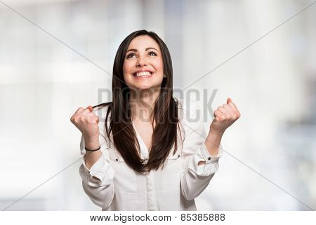 Portrait of a very happy young woman
