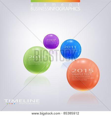 Modern 3d glossy ball elements vector timeline design template