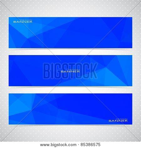 Blue Horizontal Set Of Banners Mosaic Backgrounds. Modern Vector Illustration