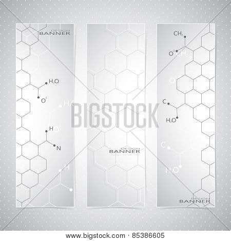 Vertical molecule Set of Banners on gray Background. Modern Vector Illustration