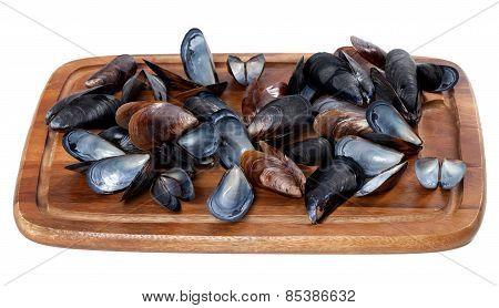 Shells Of Mussels On Wooden Board