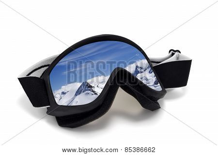 Ski Goggles With Reflection Of Mountains At Sunny Day