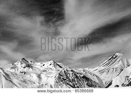 Black And White Snowy Mountains In Windy Day
