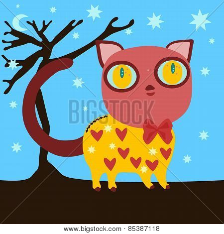 Red brown cat with big yellow eyes in cute yellow dress with hearts and stars