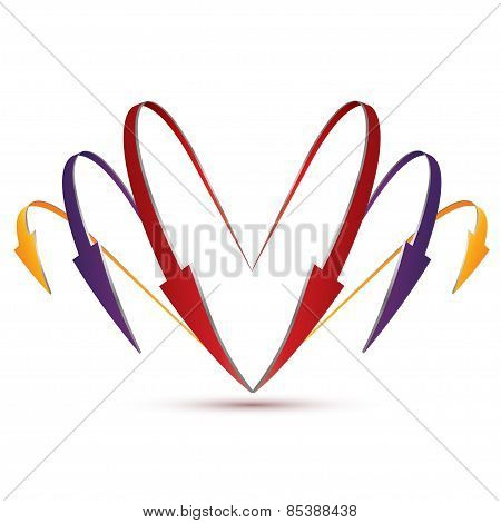 3D Set Of Arrows In The Form Of Heart